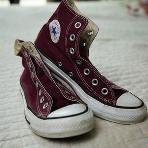 Converse Burgundy Hightop Sneakers